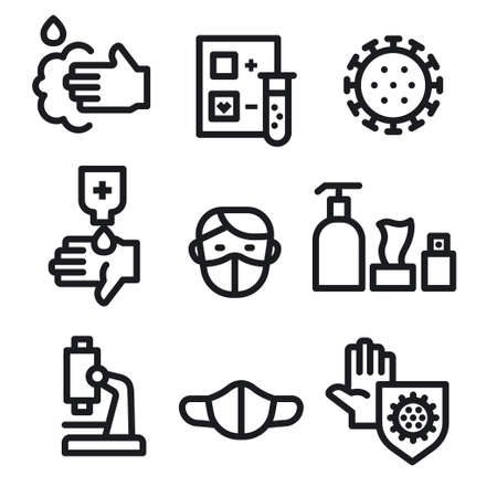 Simple Set of Coronavirus Protection Line Icons. 矢量图像