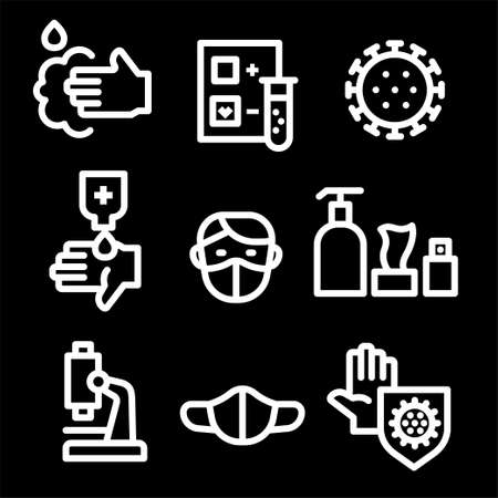 Simple Set of Coronavirus Protection outline Icons