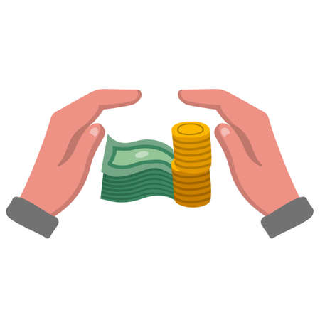 illustration of the financial, banking and safety color flat icon
