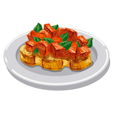 illustration of the traditional italian bruschetta with tomatoes and herbs 矢量图像