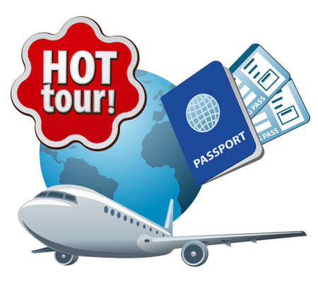 illustration of the flying hot tour sign with airplane, passport and tickets