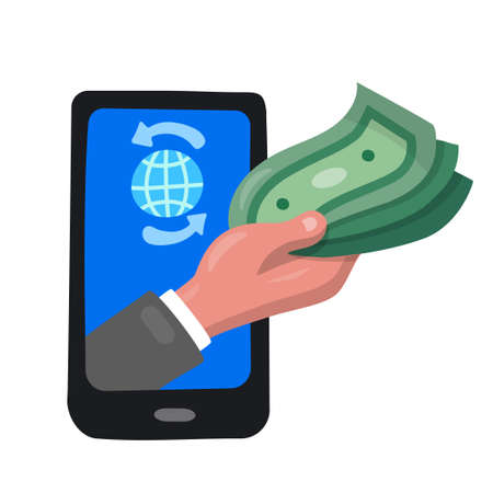 illustration of the icon of digital transfer money by phone 矢量图像