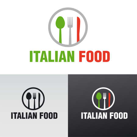 illustration of the italian food cafe and restaurant and sign