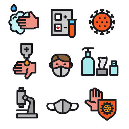 Simple Set of Coronavirus Protection outline color Icons. 矢量图像