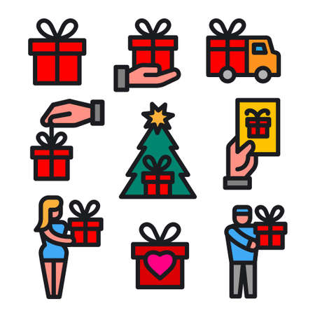 illustration of the gift and presents colorful icons set