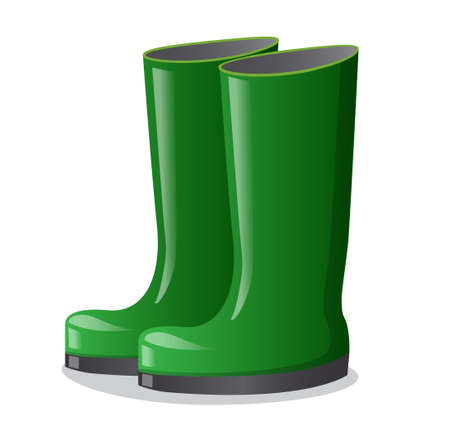 illustration of the rubber green high boots on the white background