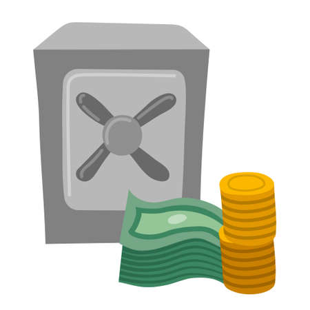 illustration of the financial savings icon with a safe, coins and currency