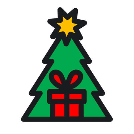 illustration of the christmas gift and present icon 矢量图像