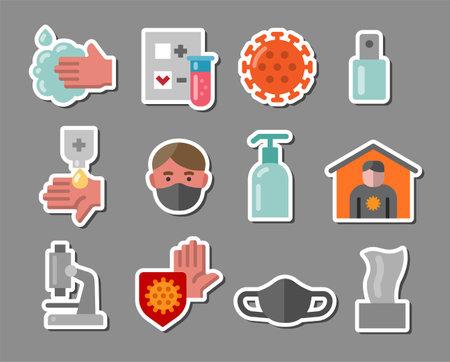 Set of Coronavirus Protection Coronavirus Stickers and Badges