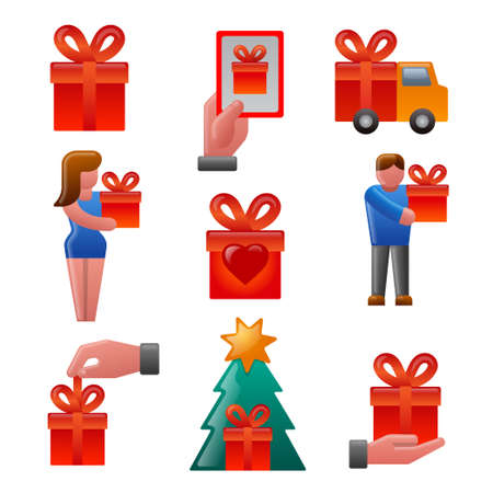illustration of the gift and presents glossy colorful icons set