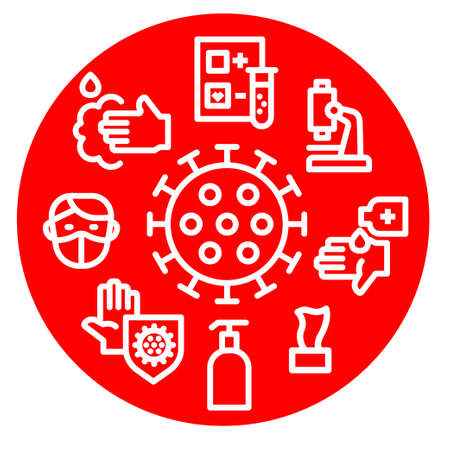 Concept Illustration of the Coronavirus Protection Round Icon 矢量图像