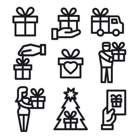 illustration of the gift and presents icons set