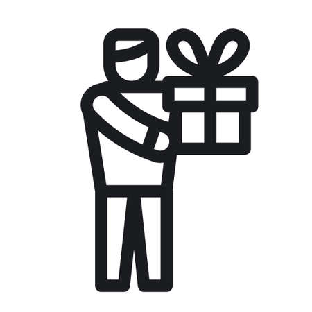illustration of the man with a gift and present icon