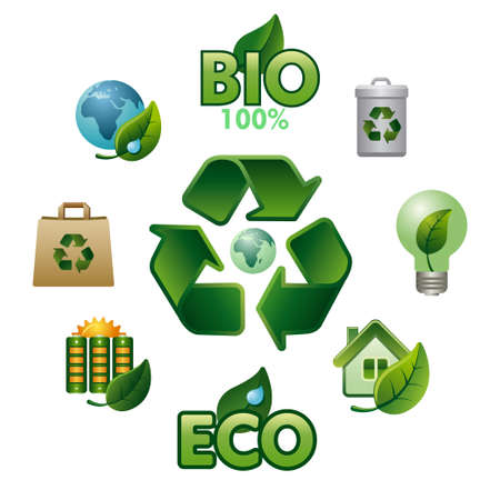 Set of ecology related glossy icons. Elements for mobile concept and web apps.