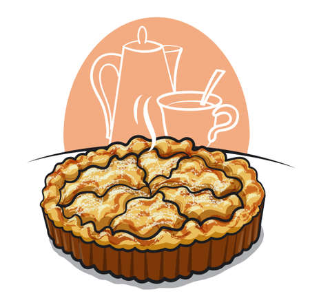 illustration of the traditional baked apple pie with hot tea 矢量图像