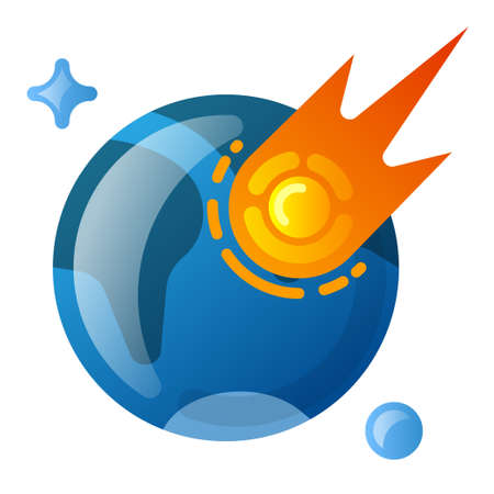illustration of the fireball asteroid falling on the earth icon