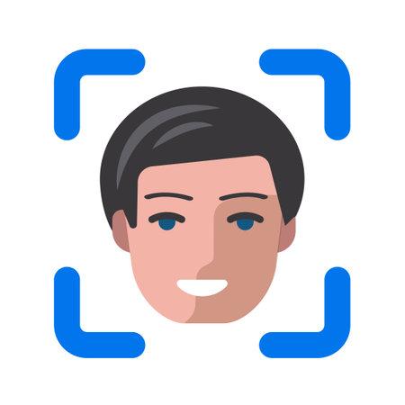 illustration of the face identification icon 矢量图像
