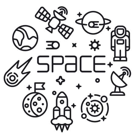 Illustration of the concept space icon in outline style for for web,landing page, stickers, and background