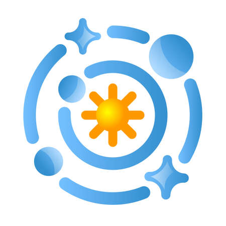 illustration of solar system icon icon for for web, landing page, stickers, and background