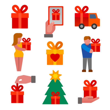 illustration of the gift and presents flat colorful icons set