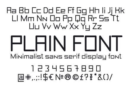 Straight linear font, uppercase and lowercase sans serif typography, numerals and symbols, soft and light minimalistic stencil letters for signs and advertising boards