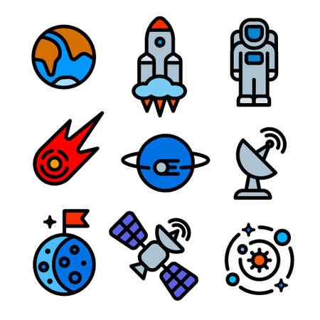 Set of space icons illustration in minimal color with outline style for for web,landing page, stickers, and background