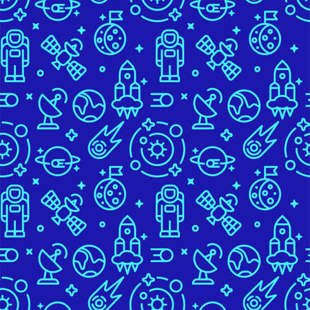 Illustration of the space symbols seamless pattern in blue color 矢量图像