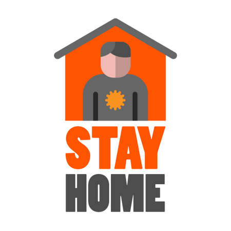 illustration of the stay home quarantine icon and sign