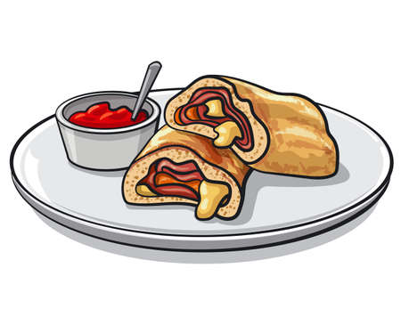 illustration of sliced pizza stromboli with tomato sauce on a plate