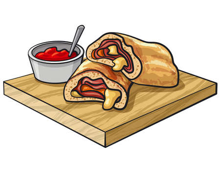 illustration of sliced pizza stromboli with tomato sauce