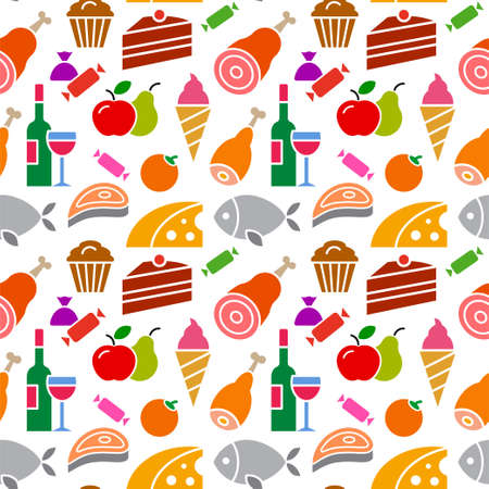 colorful illustration of food and grocery colorful seamless pattern