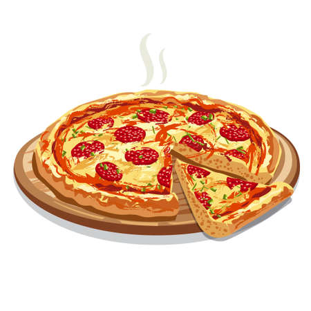 illustration of the hot sliced pizza salami on the wooden board