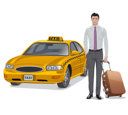 Illustration of the young man with luggage and taxi car Vecteurs