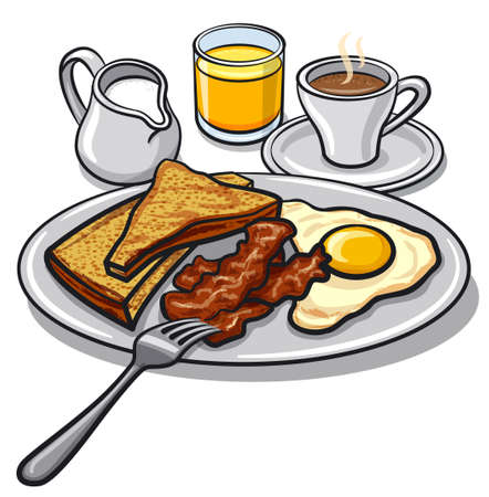 Illustration of the roasted bacon, egg, toasts on the plate and drinks.