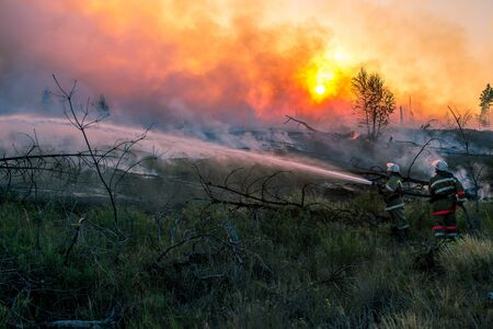 firefighters battle a wildfire