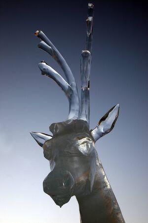icily: ice figure of a deer Stock Photo