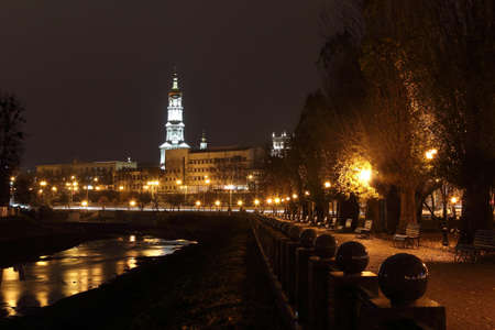 a nocturne: quay night city Kharkov, Ukraine Stock Photo