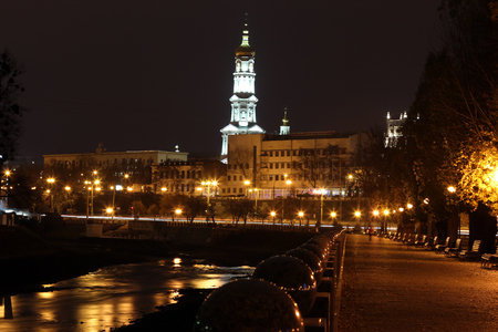 a nocturne: quay night city Kharkiv, Ukraine Stock Photo