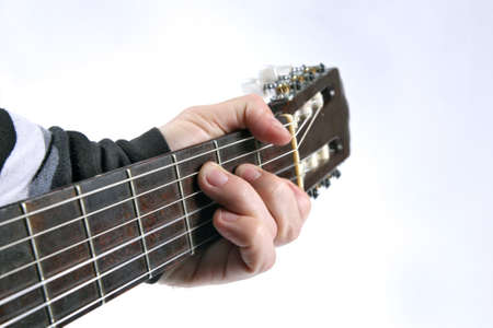 chord: in the chord playing classical guitar closeup