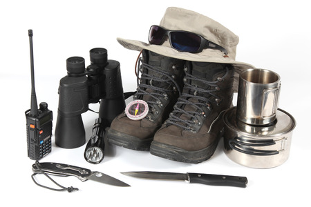 a set of different items for Hiking Reklamní fotografie