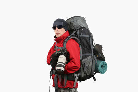 sleeping pad: equipped with the traveler photographer in a red jacket on a white background