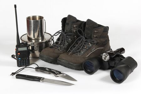 hiking boots: the set of different items for Hiking Stock Photo