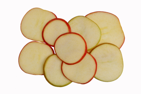 thinly: the thinly sliced Apple on white background