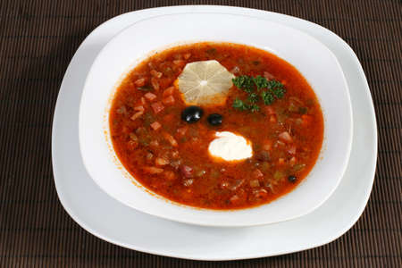 saltwort: the meat soup with sour cream and lemon