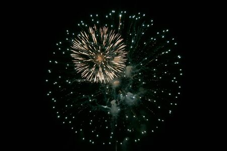 flash of light: colorful fireworks in the night sky Stock Photo