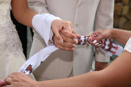 hand towel: bound together wedding hand towel bride and groom