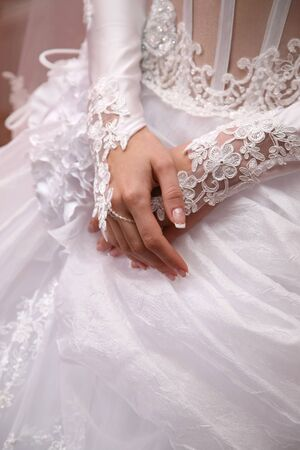 manicured hands: the bride shows her manicured hands Stock Photo