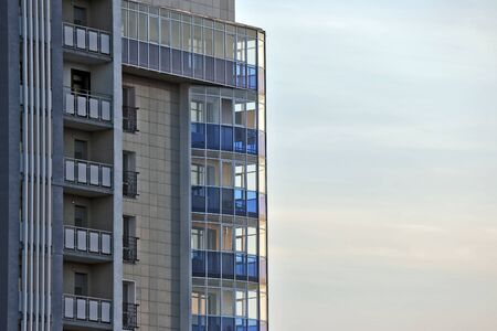 domiciles: facade of apartment building against the sky Stock Photo