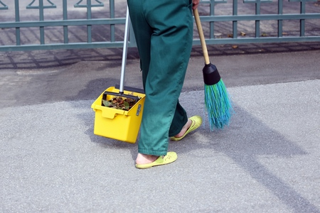 swept: the janitor swept the city sidewalk from the fallen leaves