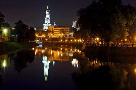 a nocturne: quay night city Kharkov. Ukraine